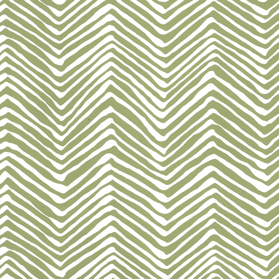 Quadrille Petite Zig Zag Wallpaper Jungle Green on White AP303-32W