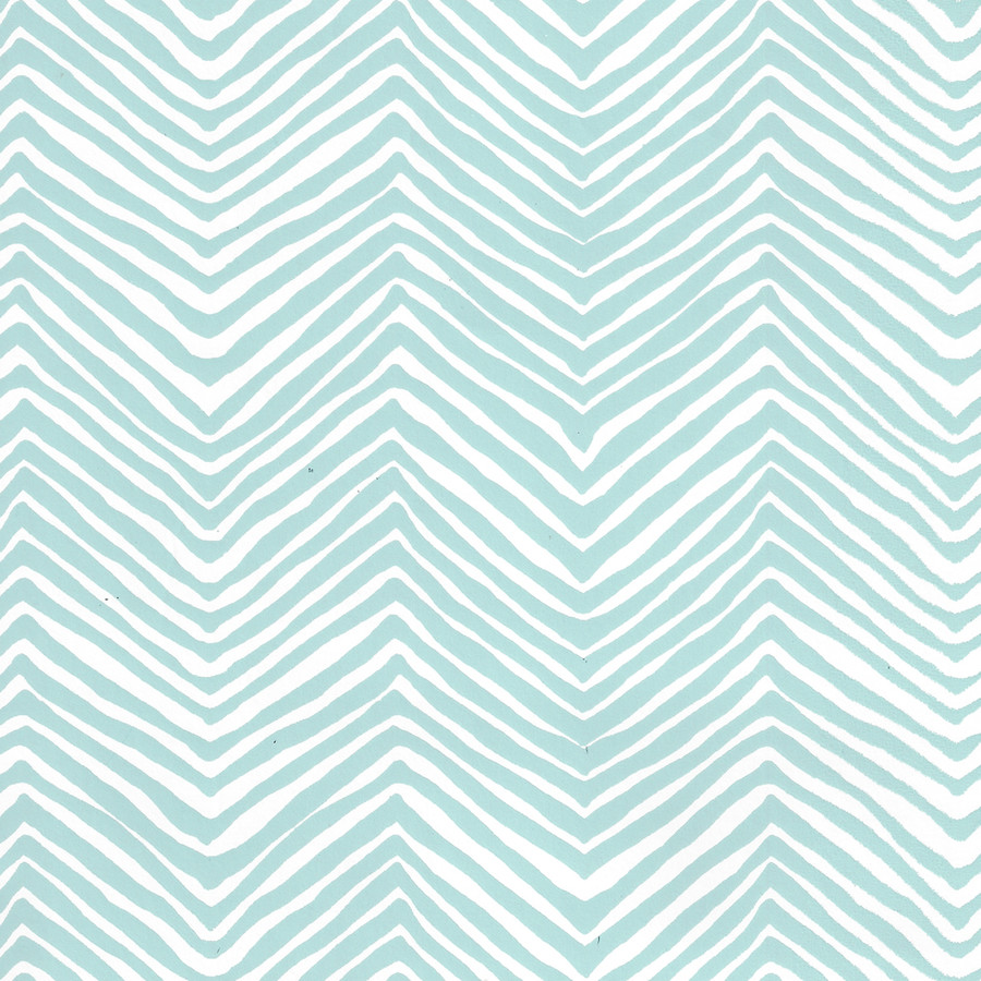 Quadrille Petite Zig Zag Wallpaper Light Blue on White Vinyl AP303-23PV