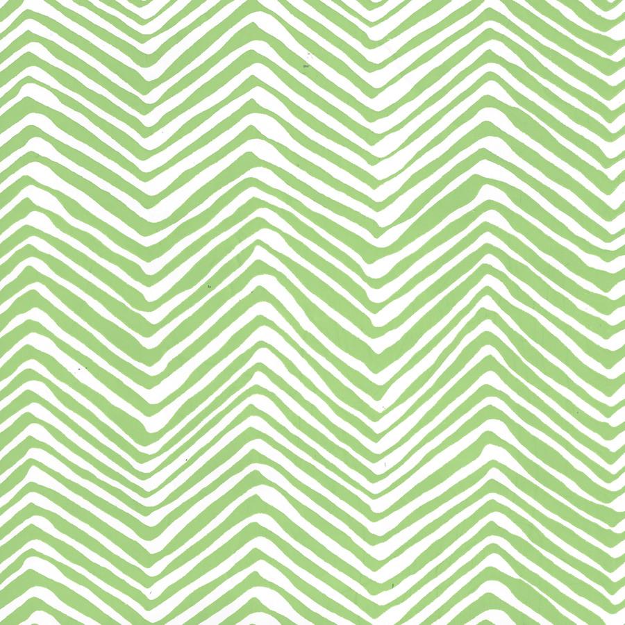 Quadrille Petite Zig Zag Wallpaper Green on White Vinyl AP303-3