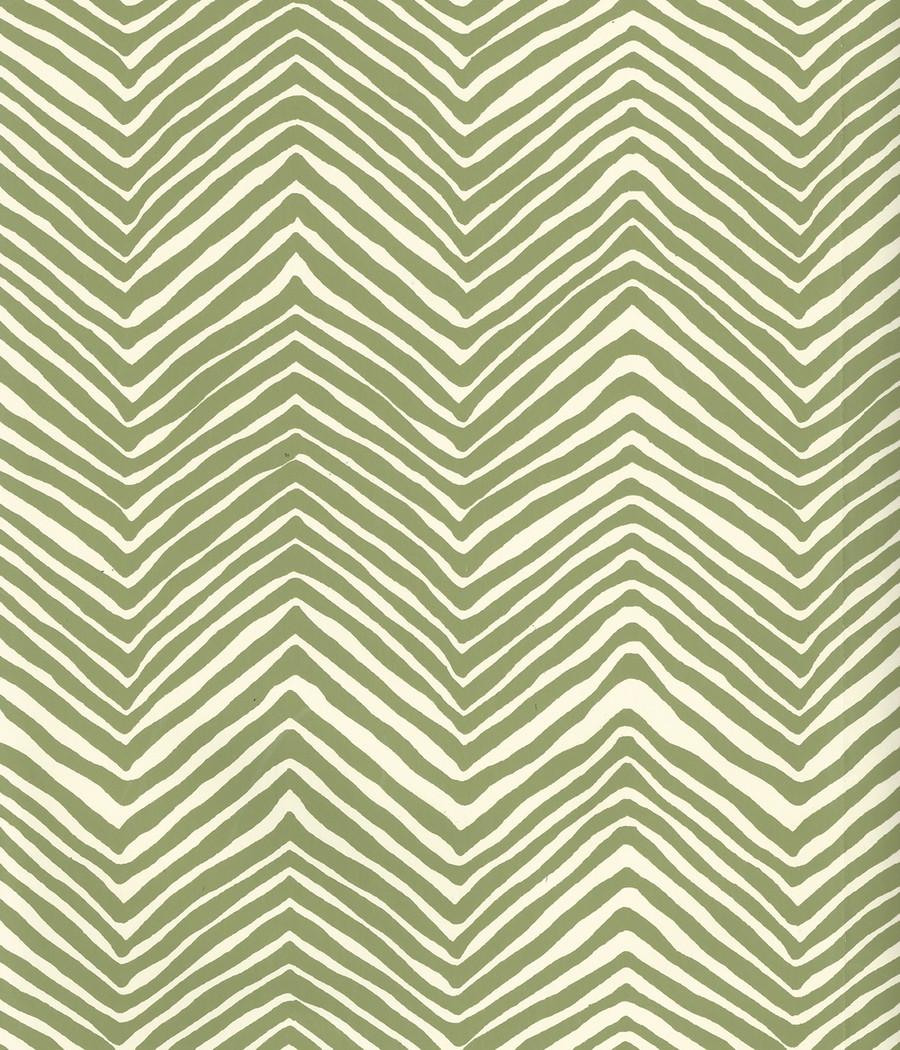 Quadrille Petite Zig Zag Wallpaper Jungle Green on Off White AP303-32
