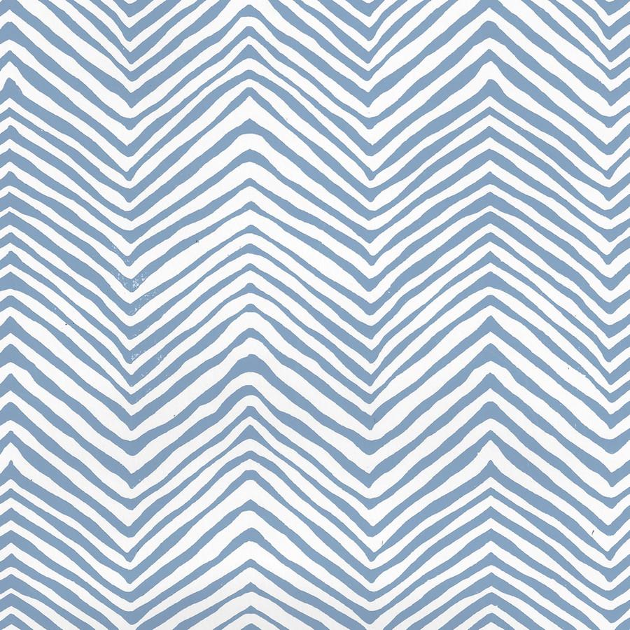 Quadrille Petite Zig Zag Wallpaper Slate Blue on White Vinyl AP303-09PV