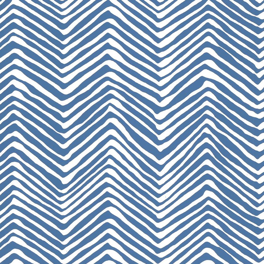 Quadrille Petite Zig Zag Wallpaper Pacific Blue on White AP303-22