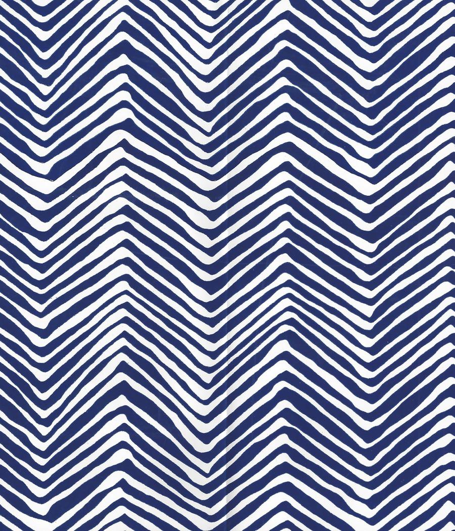 Quadrille Petite Zig Zag Wallpaper Navy on White Vinyl AP303-10PV