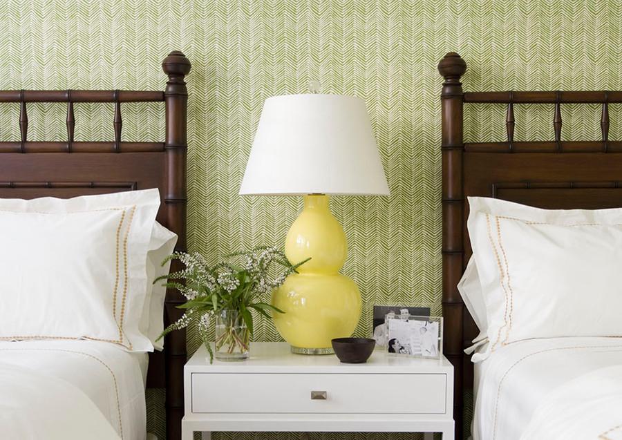 Wallpaper in Quadrille Petite Zig Zag Jungle Green on Off White AP303-32  Interior Design by J K Kling Associates