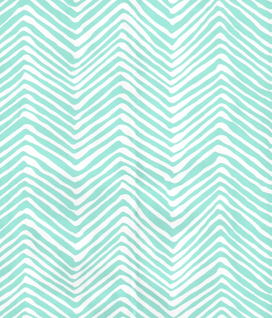 Quadrille Petite Zig Zag Wallpaper Turquoise on White Vinyl AP303-08PV