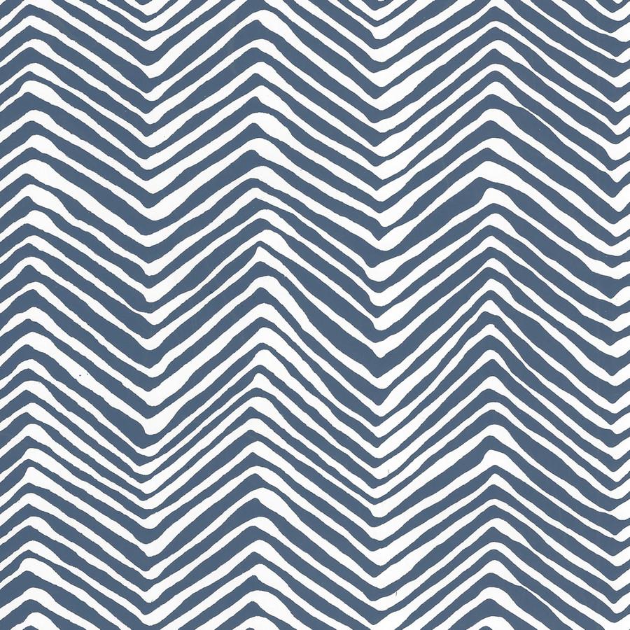 Quadrille Petite Zig Zag Wallpaper New Navy on White Vinyl AP303-39PV