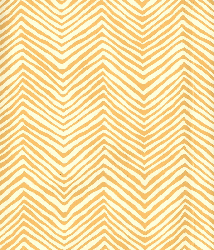 Quadrille Petite Zig Zag Wallpaper Inca Gold on Off White AP303-05