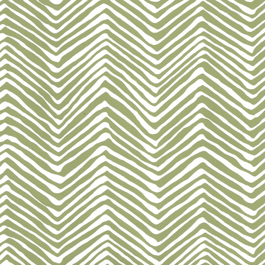 Quadrille Petite Zig Zag Wallpaper Jungle Green on White AP303-32W