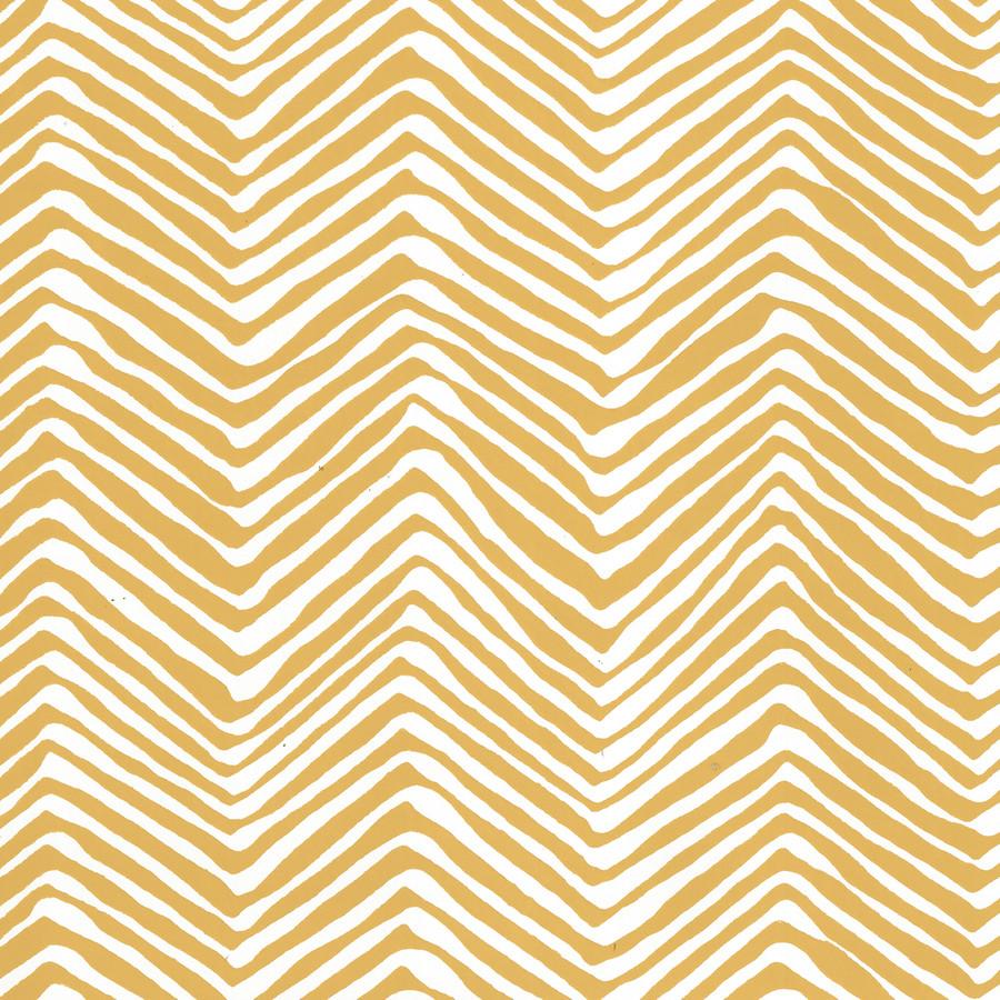 Quadrille Petite Zig Zag Wallpaper Inca Gold on White Vinyl AP303-05PV