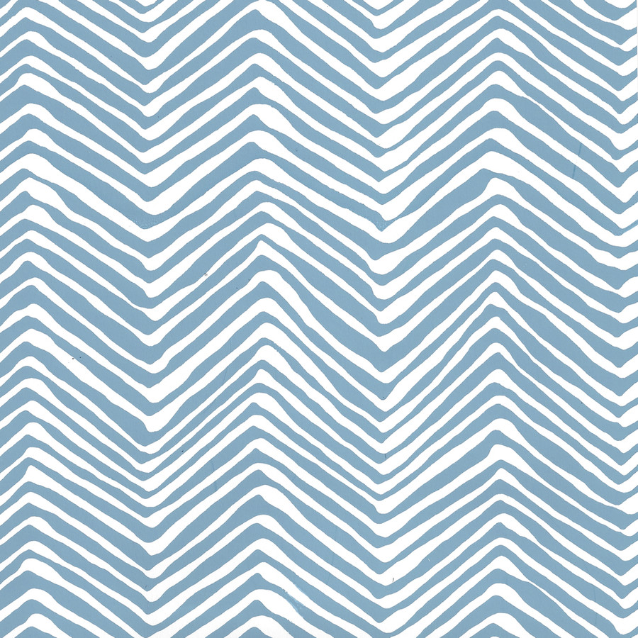Quadrille Petite Zig Zag Wallpaper Blue on White AP303-1