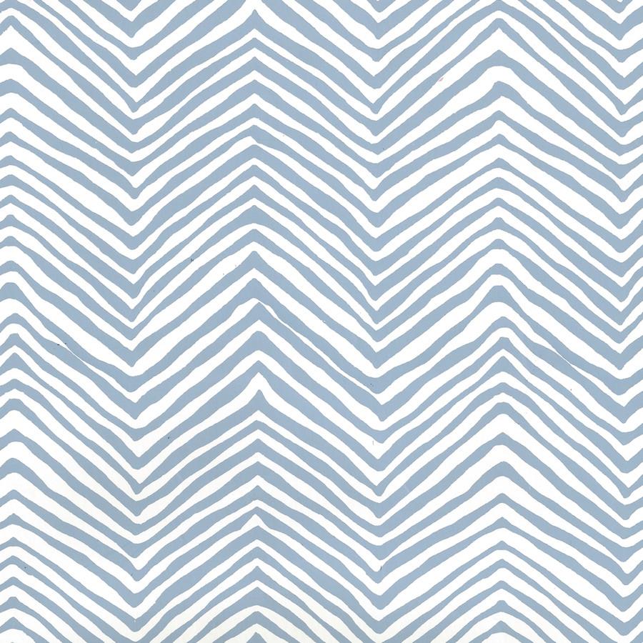 Quadrille Petite Zig Zag Wallpaper Slate Blue on Almost White AP303-09