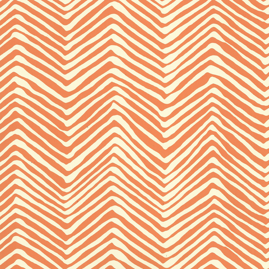 Quadrille Petite Zig Zag Wallpaper Salmon on Off White AP303-12