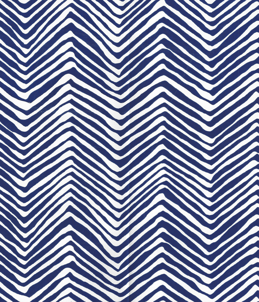 Quadrille Petite Zig Zag Wallpaper Navy on White Vinyl AP303-10PV