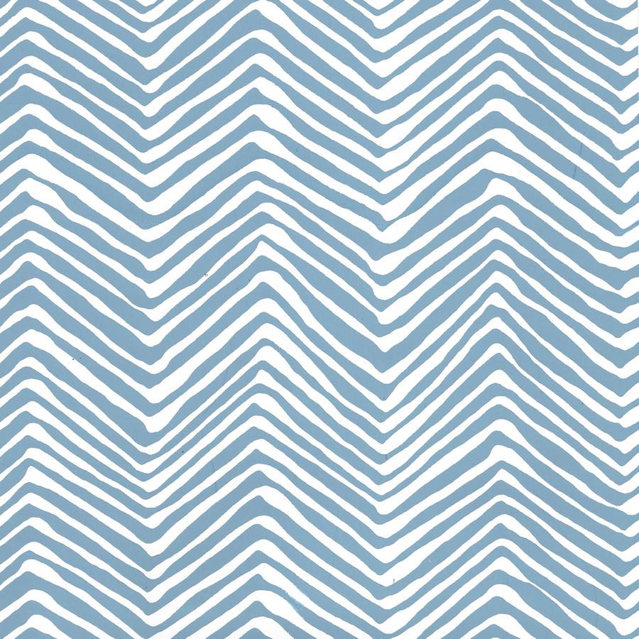 Quadrille Petite Zig Zag Wallpaper Blue on White AP303-1