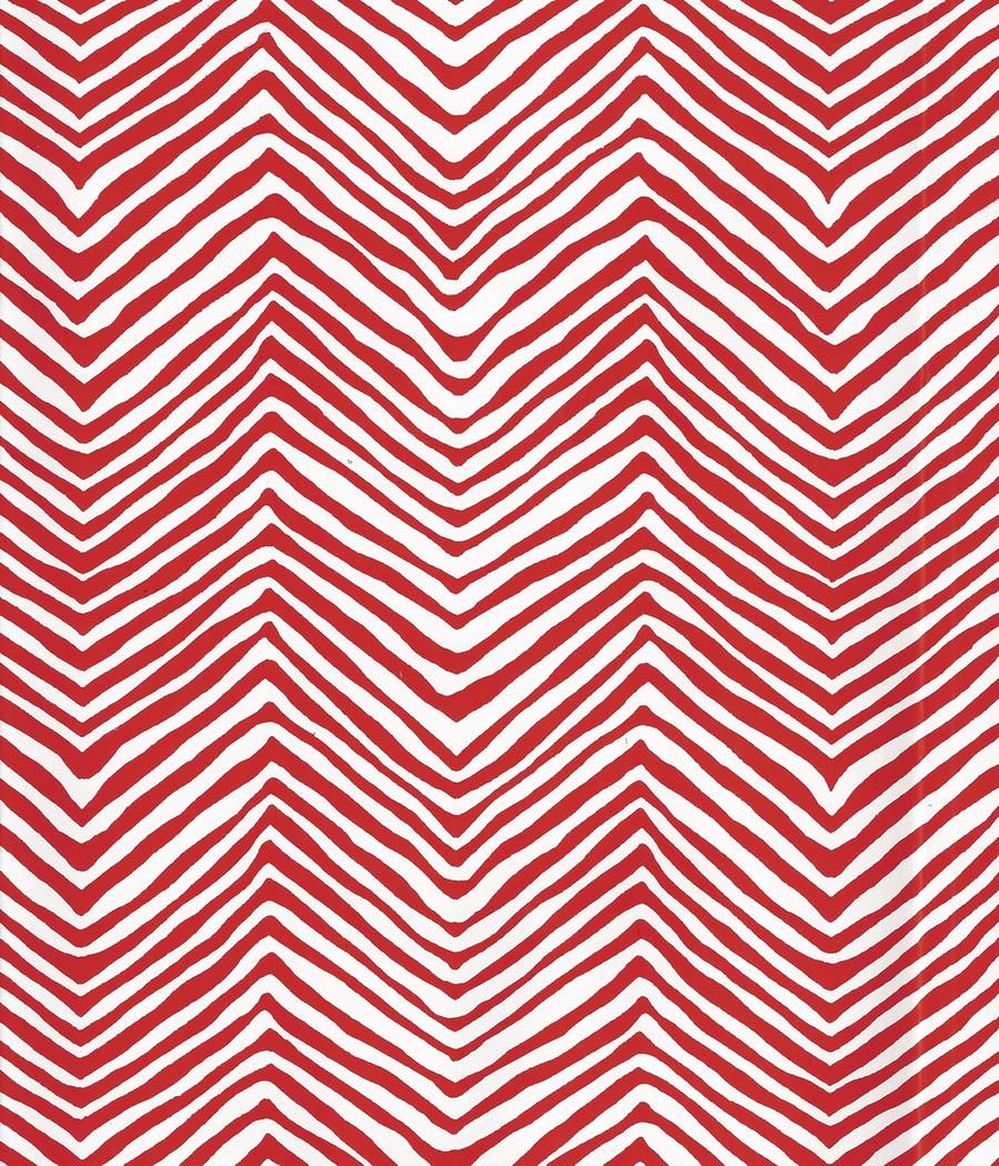 Quadrille Petite Zig Zag Wallpaper Red on White Vinyl AP303-22PV