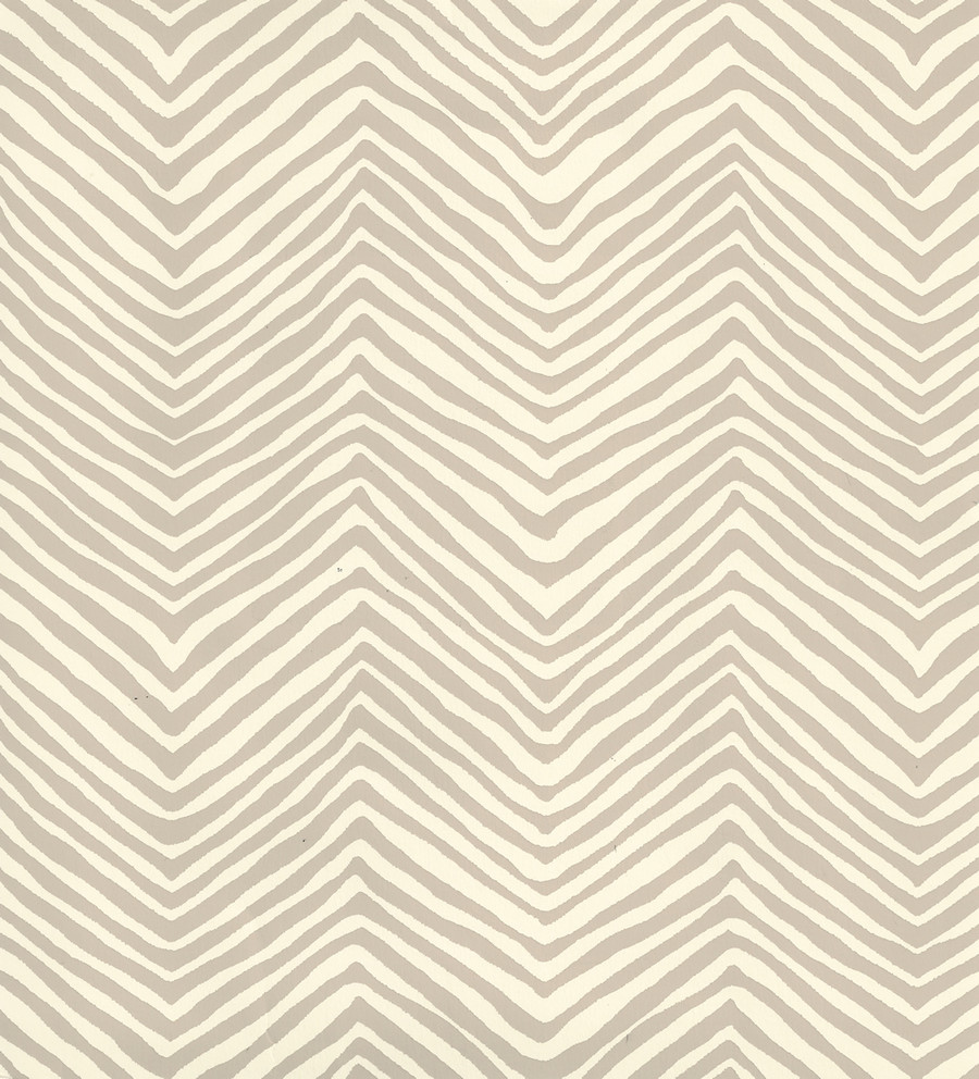 Quadrille Petite Zig Zag Wallpaper Taupe on Off White AP303-11