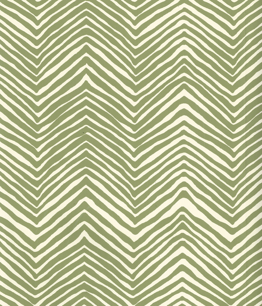 Quadrille Petite Zig Zag Wallpaper Jungle Green on Off White AP303-32