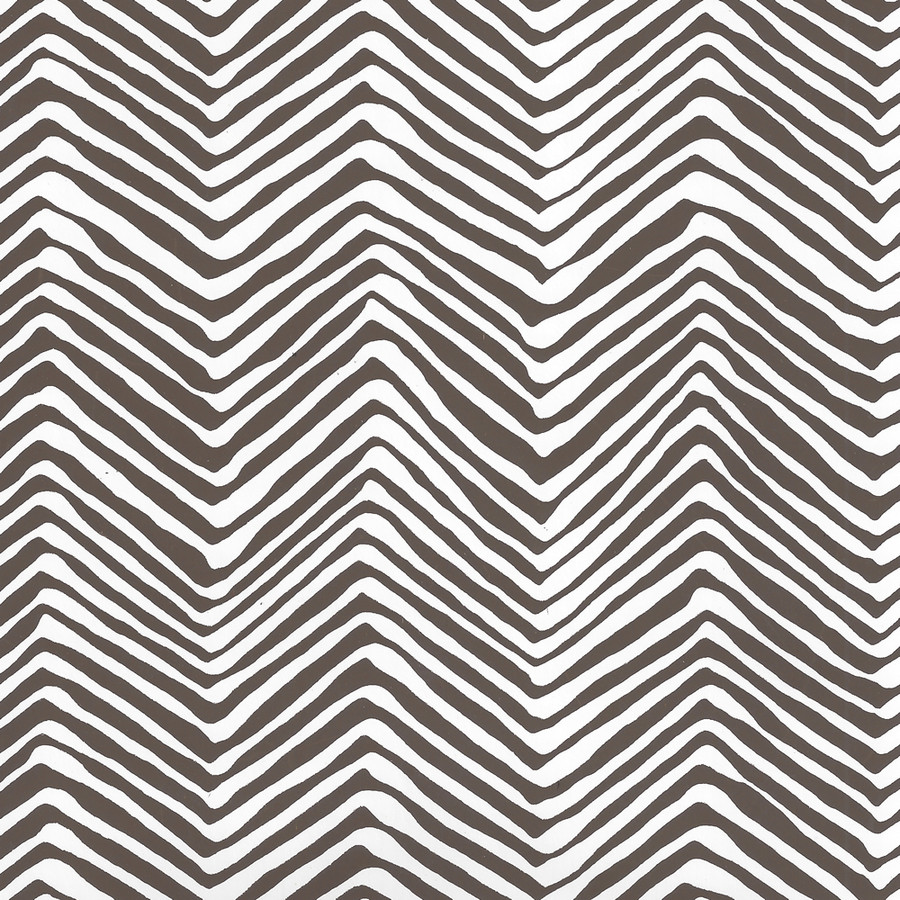 Quadrille Petite Zig Zag Wallpaper Brown on White Vinyl AP303-11PV
