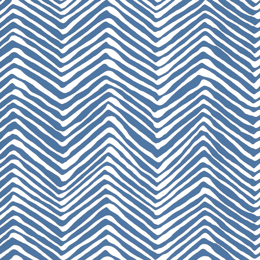Quadrille Petite Zig Zag Wallpaper Pacific Blue on White AP303-22