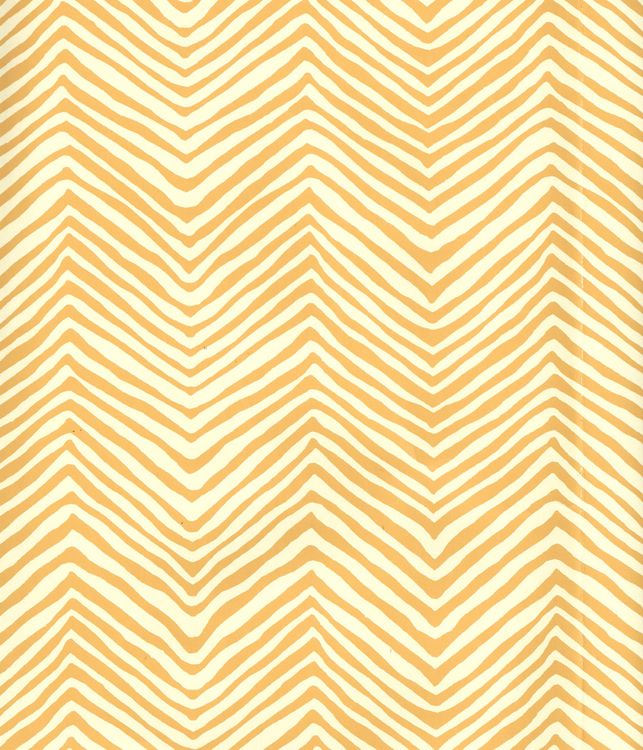 Quadrille Petite Zig Zag Wallpaper Inca Gold on Off White AP303-05