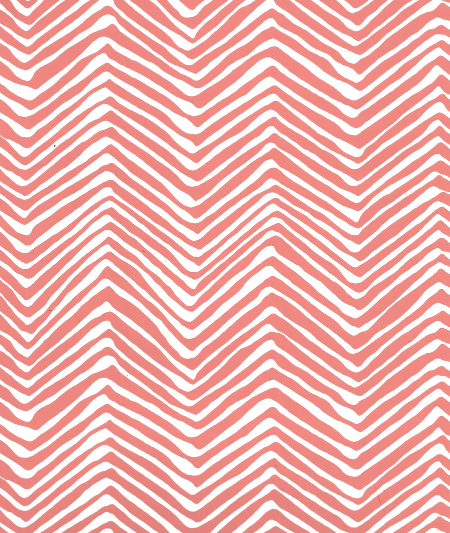 Quadrille Petite Zig Zag Wallpaper New Shrimp on Almost White AP303-06
