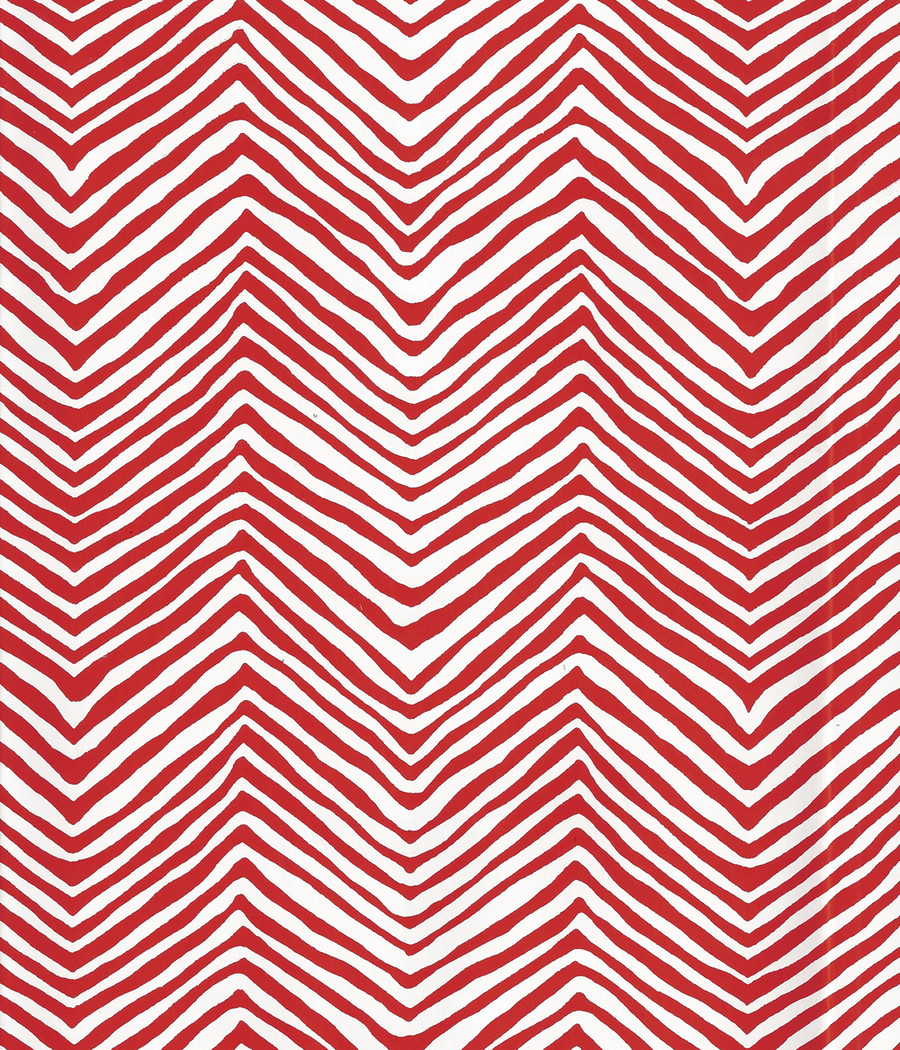 Quadrille Petite Zig Zag Wallpaper Red on White Vinyl AP303-22PV