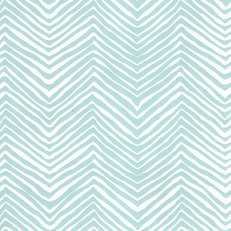 Quadrille Petite Zig Zag Wallpaper Light Blue on White Vinyl AP303-23PV