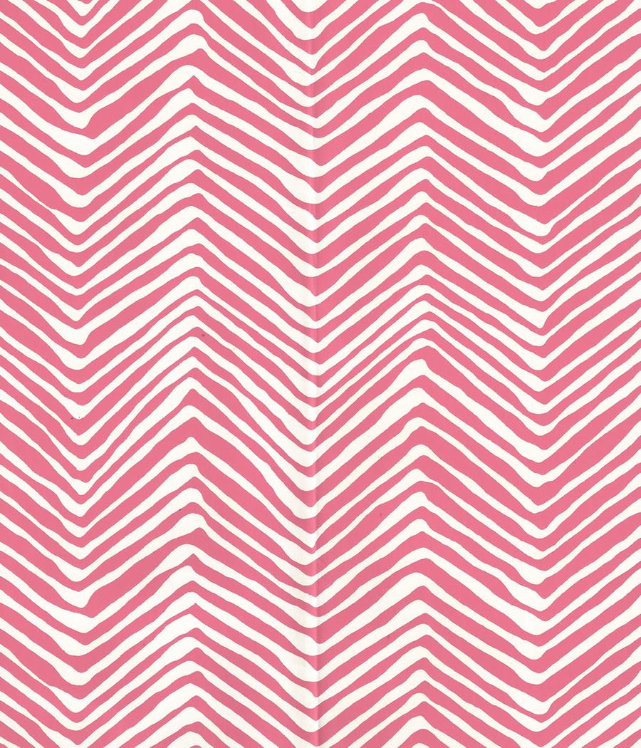 Quadrille Petite Zig Zag Wallpaper Pink on -Almost White AP303-2