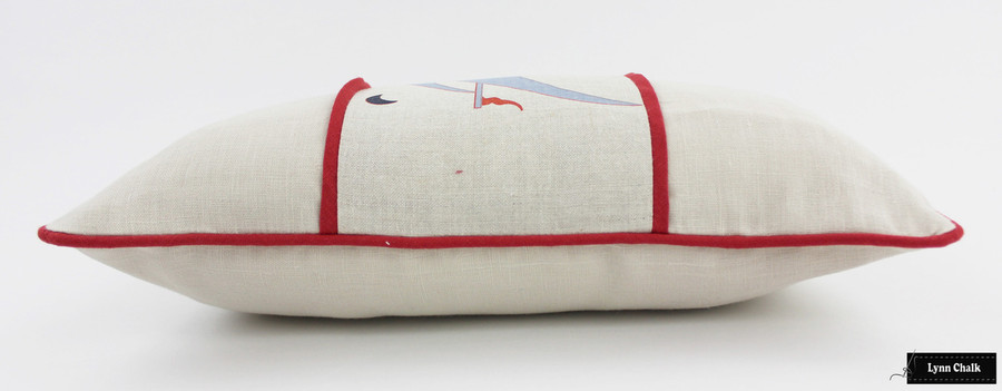 ON SALE 45% Off -  Katie Ridder Beetlecat Pillow in Lavender Blue on Linen with Red Welting (12 X 22) Made To Order