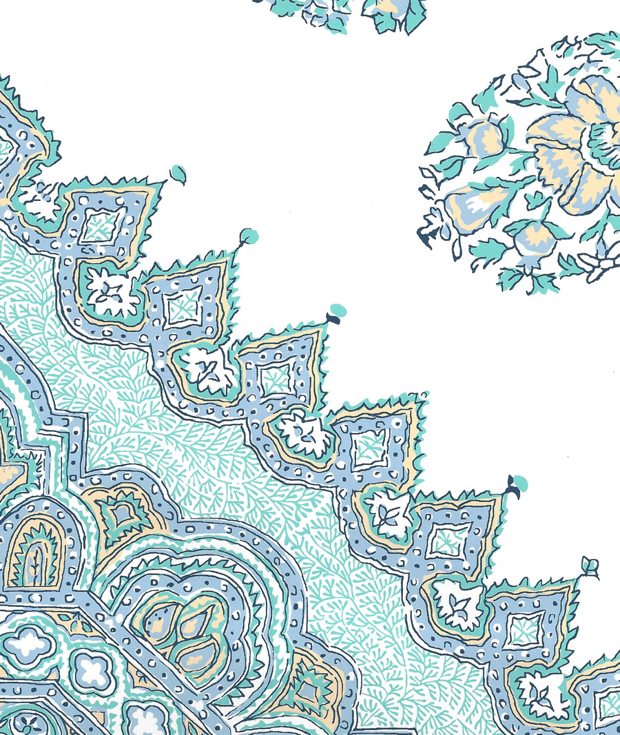 Quadrille Persepolis Wallpaper Celeste Blue on White HC1490W-01WWP