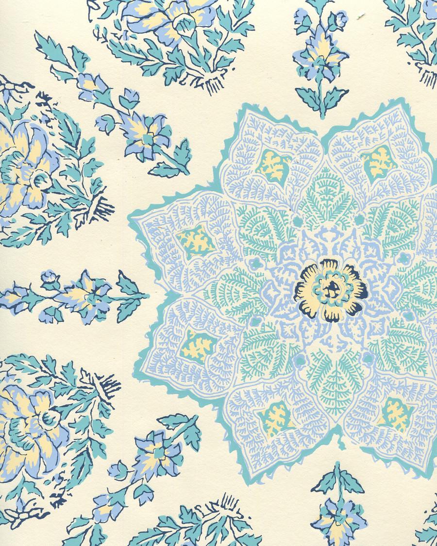 Quadrille Persepolis Wallpaper Celeste/Blue on Off White HC1490W-01WP