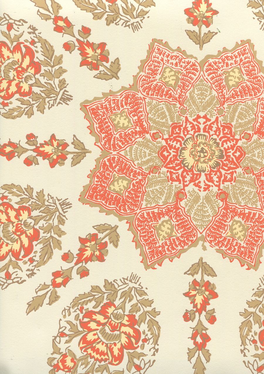 Quadrille Persepolis Wallpaper Melon/Camel on Off White HC1490W-03WP
