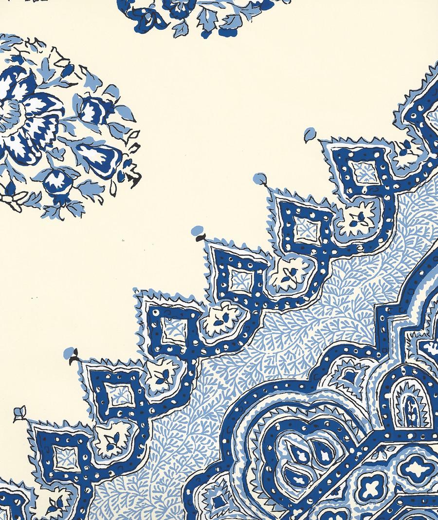 Quadrille Persepolis Wallpaper Navy French Blue on Off White HC1490W-08WP