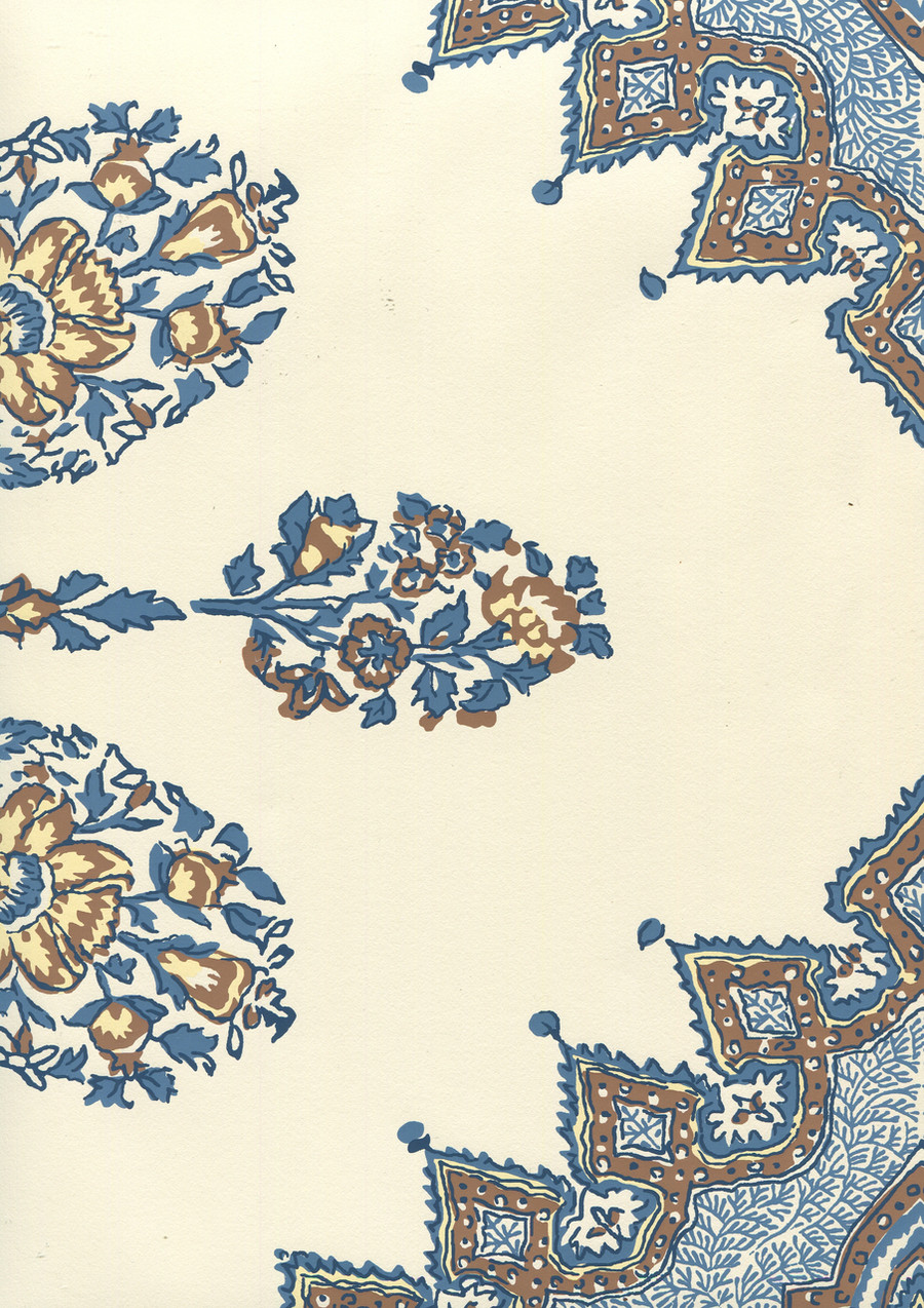Quadrille Persepolis Wallpaper Brown Navy on Off White HC1490W-04WP