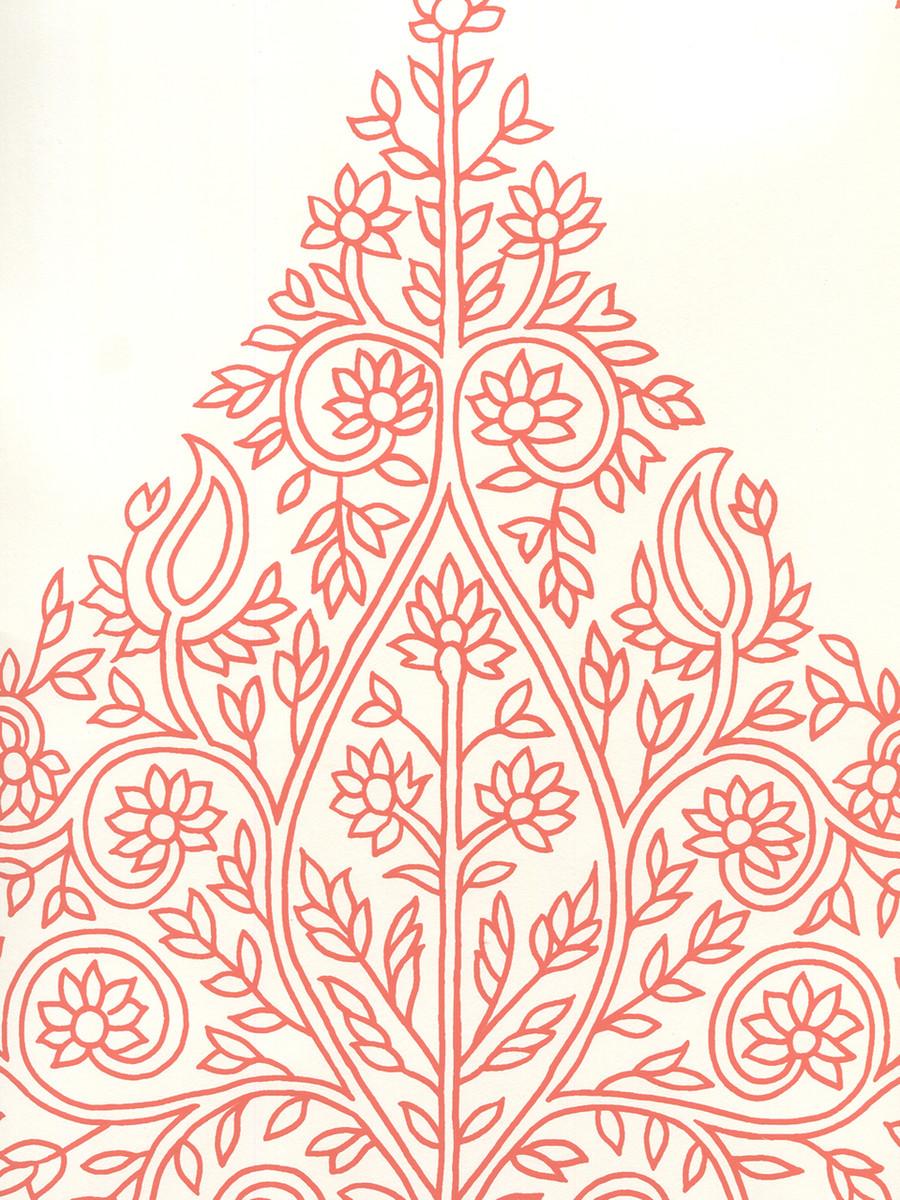 Quadrille Taj Wallpaper New Shrimp on Almost White HC1480P-08AWP