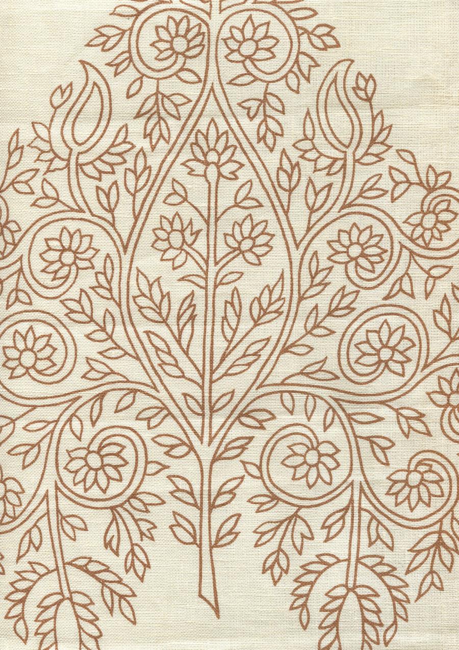 Quadrille Taj Wallpaper New Tobacco on Off White HC1480P-02WP