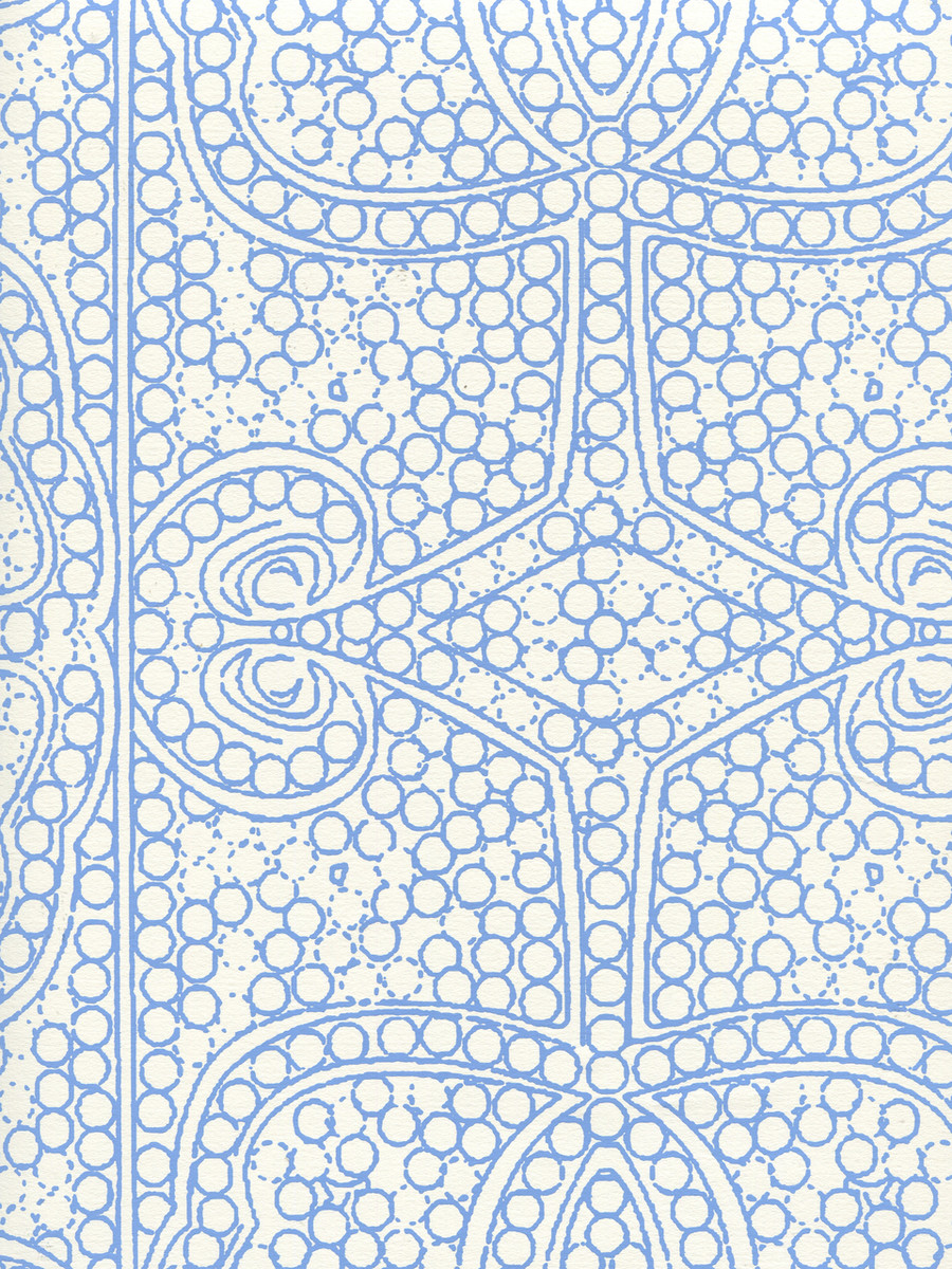 Quadrille Persia Wallpaper New Blue on Almost White CP1000W-04