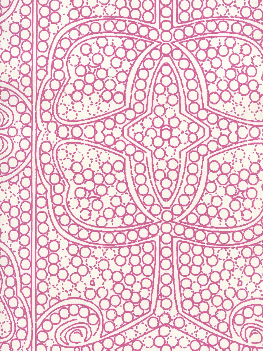 Quadrille Persia Wallpaper Flamingo on Almost White CP1000W-07