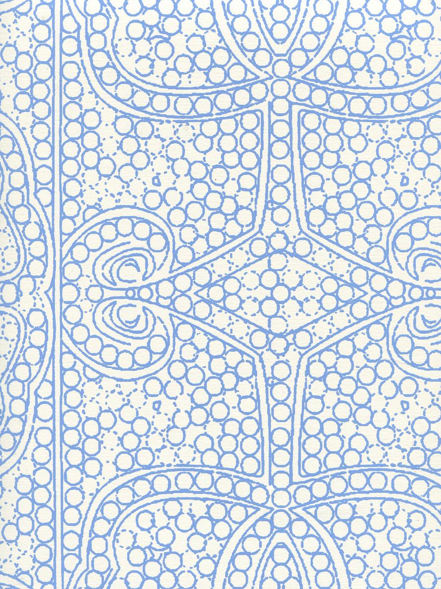 Quadrille Persia Wallpaper New Blue on Almost White CP1000W-04