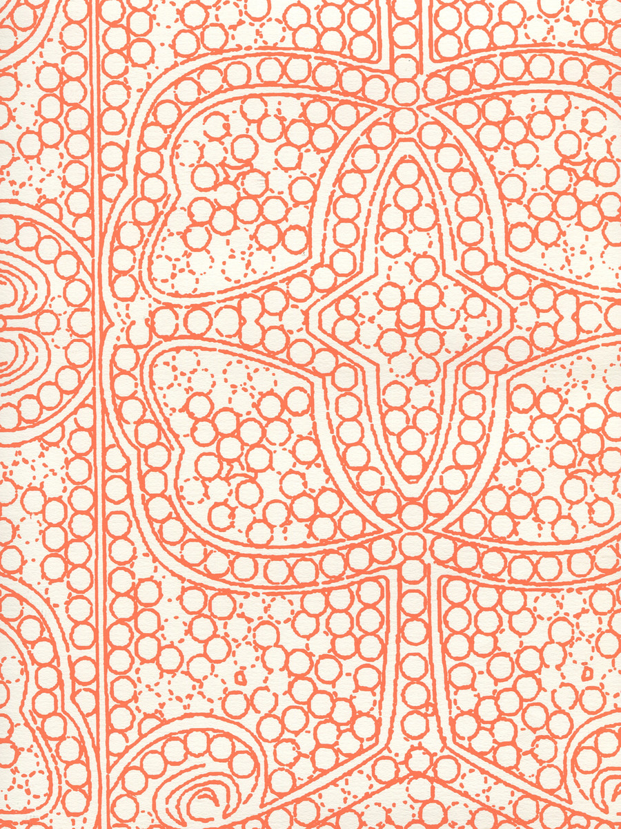 Quadrille Persia Wallpaper Orange on Almost White CP1000W-06