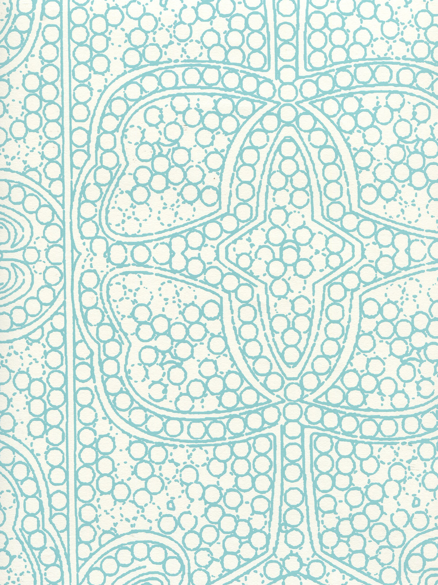Quadrille Persia Wallpaper Turquoise on Almost White CP1000W-03