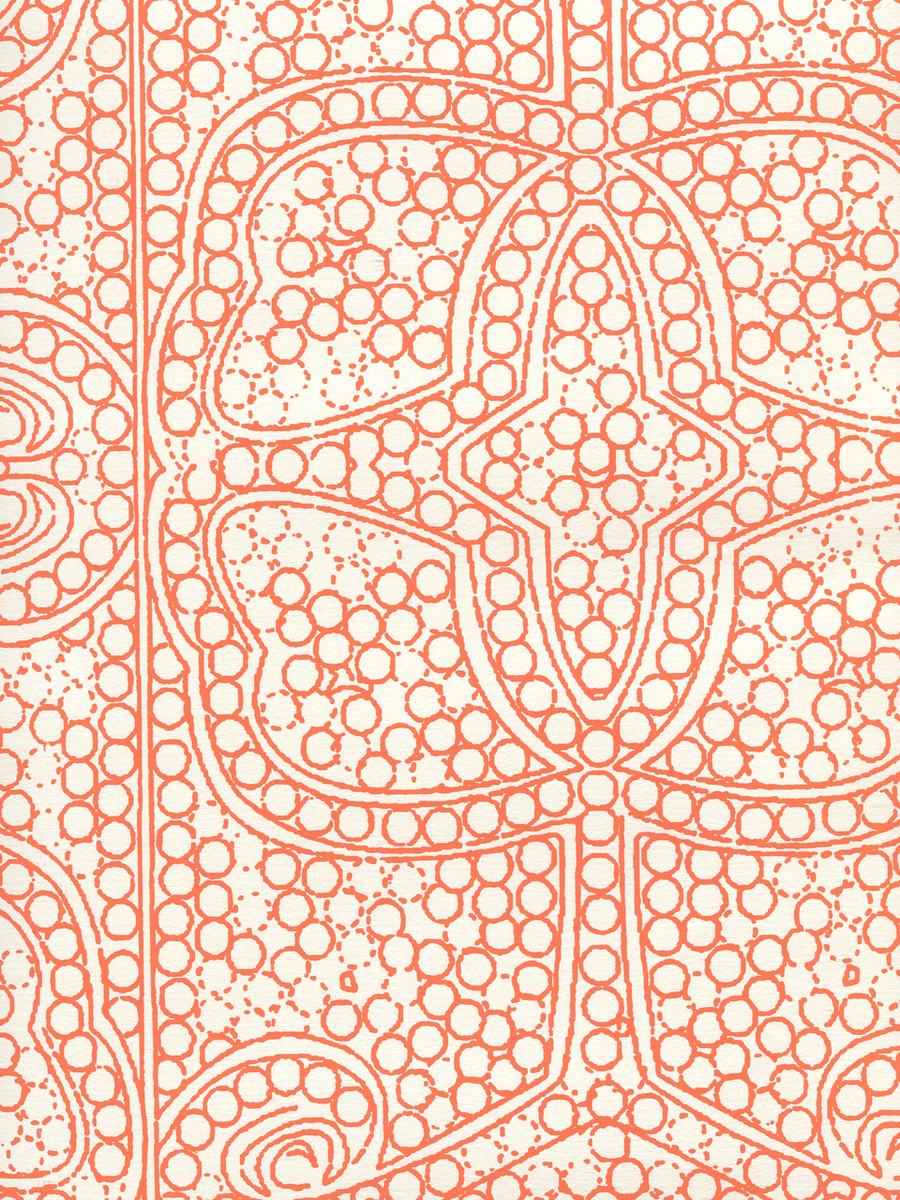 Quadrille Persia Wallpaper Orange on Almost White CP1000W-06