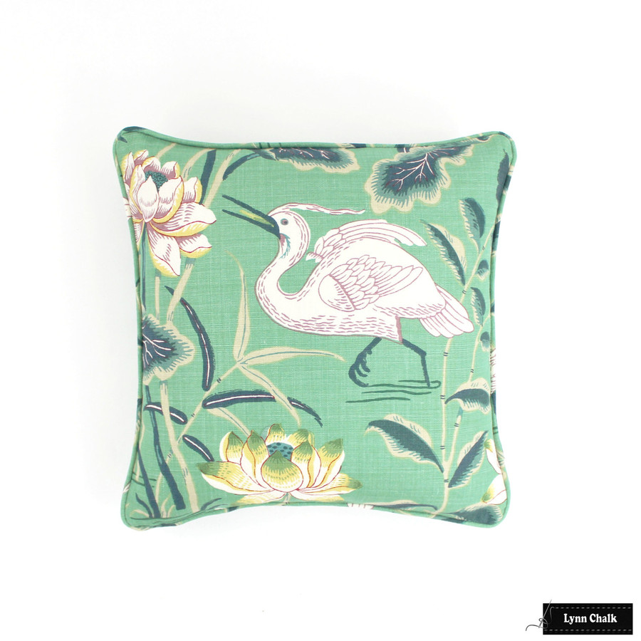 Schumacher Lotus Garden Jade Pillow 18 X 18