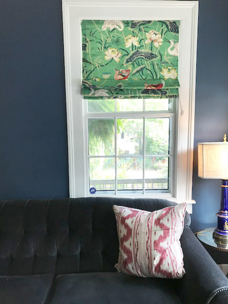 Schumacher Lotus Garden Roman Shade in Jade (picture sent in by customer)