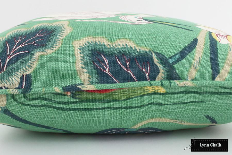 Schumacher Lotus Garden Jade Pillow with self welting