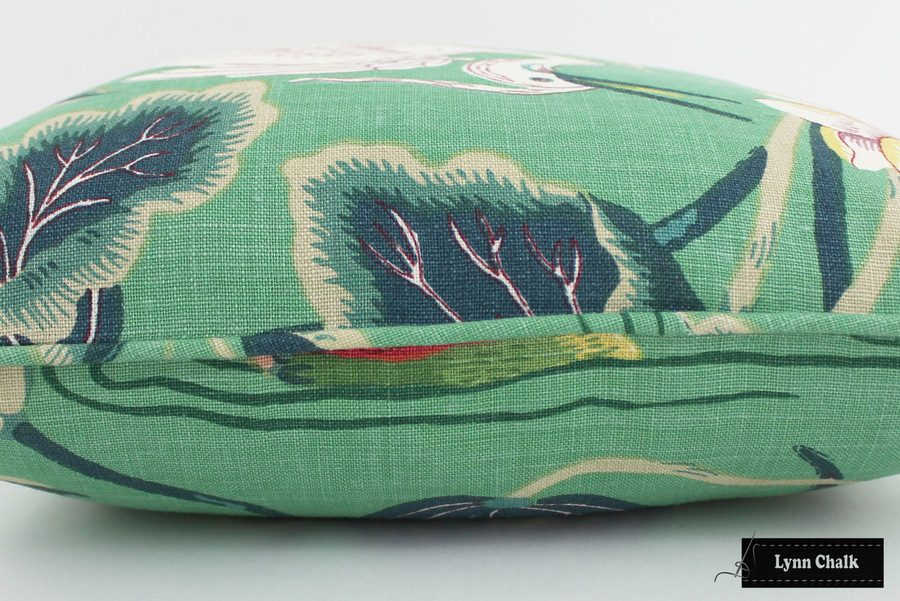 Schumacher Lotus Garden Jade Pillow with self welting