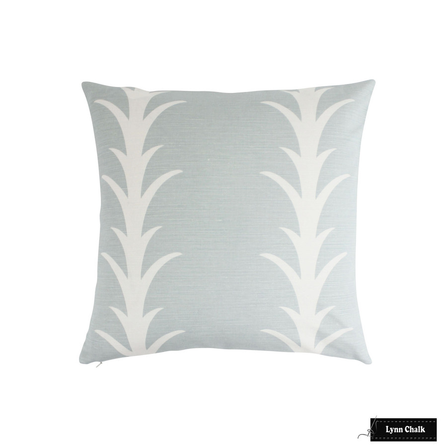 Schumacher Acanthus Stripe Custom Roman Shade (shown in Sky -comes in other colors)