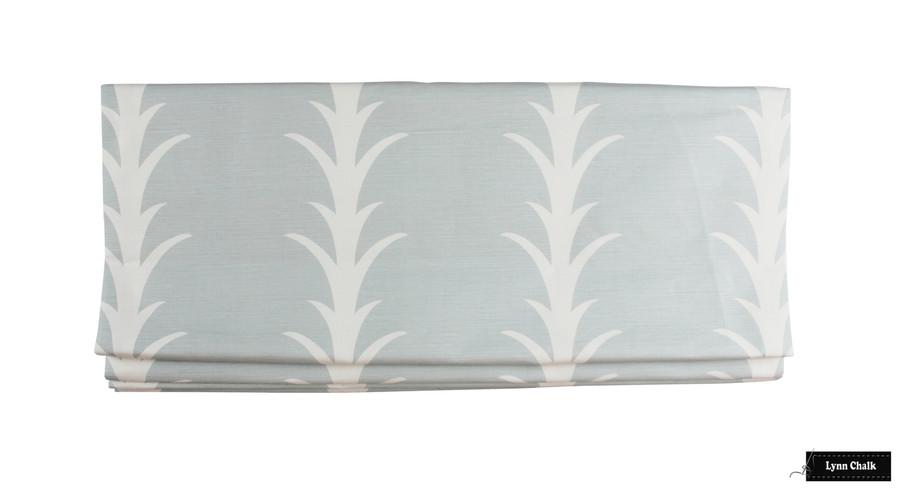 Curtain in Schumacher Acanthus Stripe Sky 177633