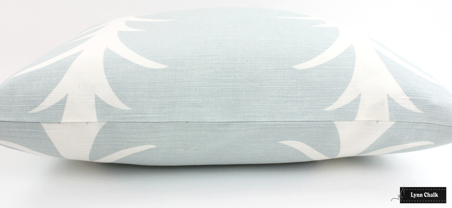 Schumacher Acanthus Stripe Custom Pillows (shown in Sky -comes in other colors)