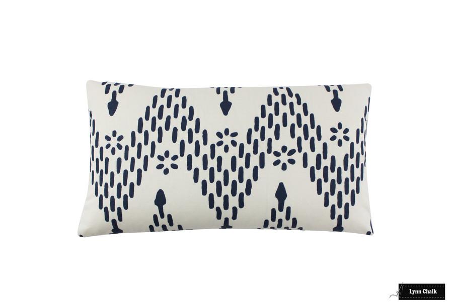 Sister Parish Kismet Indigo Pillow 14 X 24